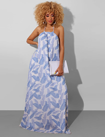 Fashion Blue Halter Dress With Open Back Print