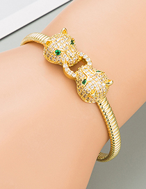 Fashion Gold Color Leopard Head Copper Micro-inlaid Zircon Bracelet