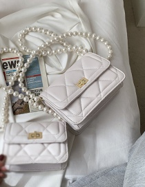 Fashion White Tuba Lingge Embroidery Thread Pearl Crossbody Bag