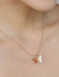 Fashion Gold Color Gold Diamond Butterfly Insect Necklace