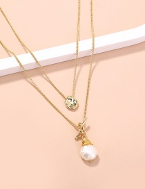 Fashion White Small Golden Bean Double Knotted Pearl Necklace