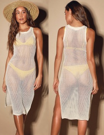 Fashion White Knitted Mesh Vest Sun Protection Shirt