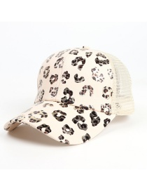 Fashion Beige Leopard Print Cross Elastic Baseball Cap