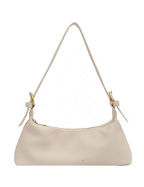 Fashion Beige Soft Lychee Pattern Shoulder Bag