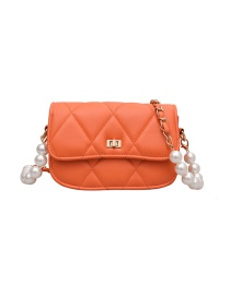 Fashion Orange Pearl Chain Embroidery Thread One-shoulder Messenger Bag