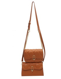 Fashion Brown Mother And Daughter Kit Embroidery Thread Chain Shoulder Bag
