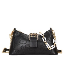 Fashion Black Embossed Chain Shoulder Messenger Bag
