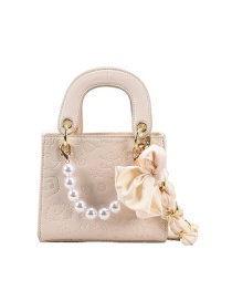 Fashion Beige Bowknot Pearl Single Shoulder Messenger Bag