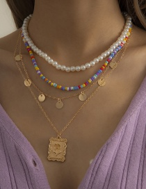 Fashion Gold Color Multi-layer Colorful Rice Bead Embossed Necklace