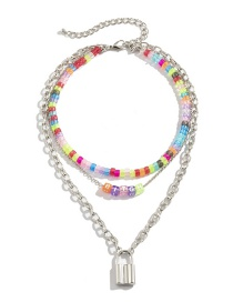 Fashion Color Pendant Colorful Acrylic Imitation Pearl Beaded Necklace
