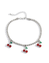 Fashion Silver Color Micro-inlaid Small Cherry Rhinestone Anklet