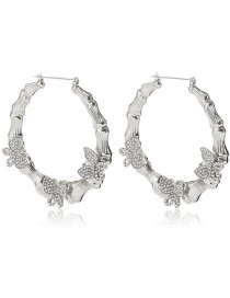 Fashion Silver Color Micro-inlaid Small Butterfly Bamboo Earrings
