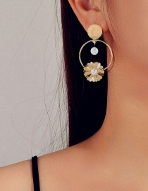 Fashion Gold Color Alloy Inlaid Pearl Geometric Earrings
