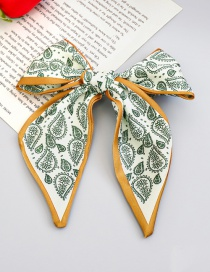 Fashion Coffee Color Green Flower Printed Fabric Bow Hairpin