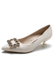 Fashion Beige Pointed Toe Rhinestone Satin Shoes