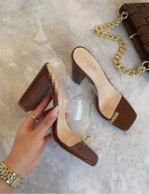 Fashion Dark Brown Slip-on Transparent Chunky Heel Slippers