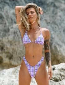 Fashion Purple Check Triangle Split Swimsuit