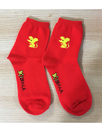 Fashion Gold Color Mouse Small Mouse Cartoon Socks In Tube