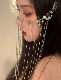 Fashion Silver Color Diamond-studded Pearl Drop Fringe Curtain