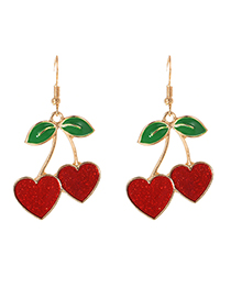 Fashion Red Alloy Drip Cherry Earrings