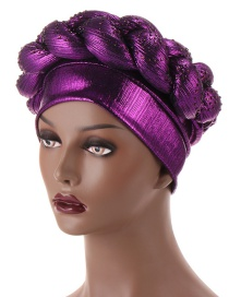 Fashion Deep Purple Sponge Hat With Bright Silk And Hot Rhinestones Thick Twist Braid
