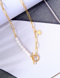 Fashion Golden Five-pointed Star Chain Pearl Ot Buckle Necklace