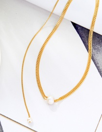 Fashion Golden Pearl Pendant Stacking Necklace