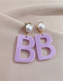 Fashion Lavender Acrylic Letter Earrings