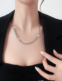 Fashion Silver Reflective Pearl Stitching Necklace