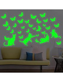 Fashion 20*30cm Luminous Cat Catching Butterflies Wall Sticker