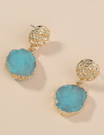 Fashion Blue Round Short Earrings
