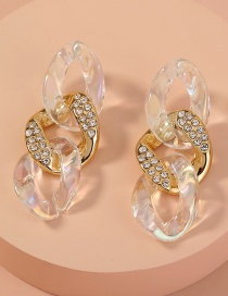Fashion Transparent Color Resin Chain Diamond Earrings