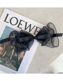 Fashion Black Net Yarn Big Bow Hairpin