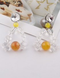 Fashion Ear Studs Transparent Crystal Brown Bead Earrings