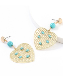 Fashion Love Vertical Stripes Love Heart-shaped Alloy Turquoise