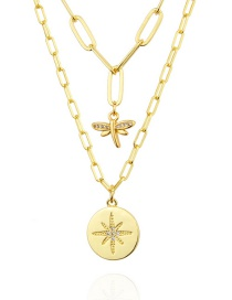 Fashion Golden Diamond Eight Pointed Star Dragonfly Necklace