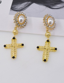Fashion Golden Diamond And Pearl Cross Earrings
