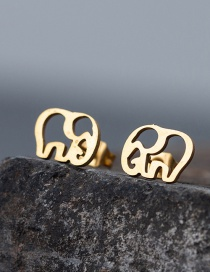 Fashion Elephant-golden Stainless Steel Star And Moon Earrings