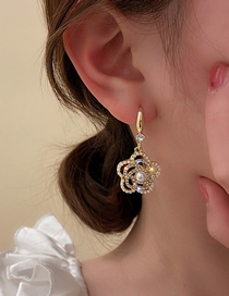 Fashion Golden Pearl And Diamond Hollow Flower Ear Hooks