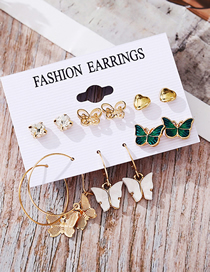 Fashion Color Mixing Acrylic Butterfly Love Haoshi Stud Earrings Set