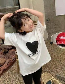 Fashion Big White Heart Short Sleeve Love Solid Color T-shirt