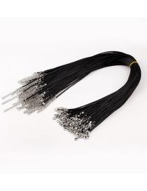Fashion Black Geometric Leather Cord Necklace (single)
