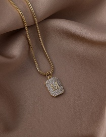 Fashion Gold Color Micro-inlaid English M Letter Necklace