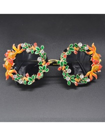 Fashion Yellow Eyes Hollow Carved Fish Flower Butterfly Sunglasses