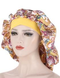 Fashion Yellow Printed Pullover Hair Care Nightcap