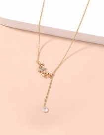 Fashion Golden Diamond Butterfly Faceted Zircon Necklace