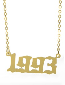 Fashion 1993-gold Stainless Steel Year Number Necklace