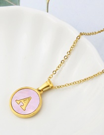 Fashion Pink-a Stainless Steel Round Shell 26 Letter Necklace