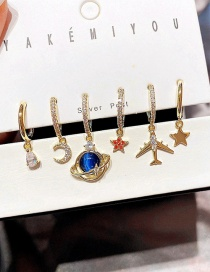 Fashion Real Gold Plated Zircon Inlaid Saturn Star Moon Airplane Earring Set