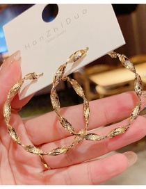 Fashion Gold Color Metal Circle Wave Earrings